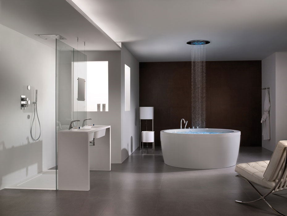 On dise o products soleil round by systempool for Salle de bain douche italienne double vasque